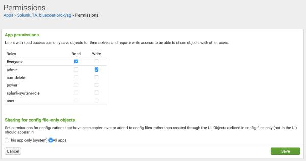 Splunk app permissions